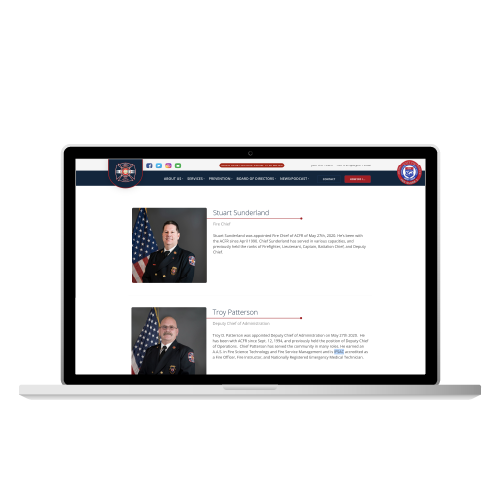 Adams County Fire Rescue Website from Mithril Media